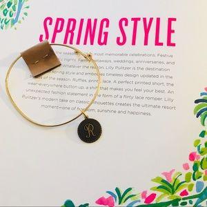 Brass Gold Initial Monogram Charm Bracelet Bangle